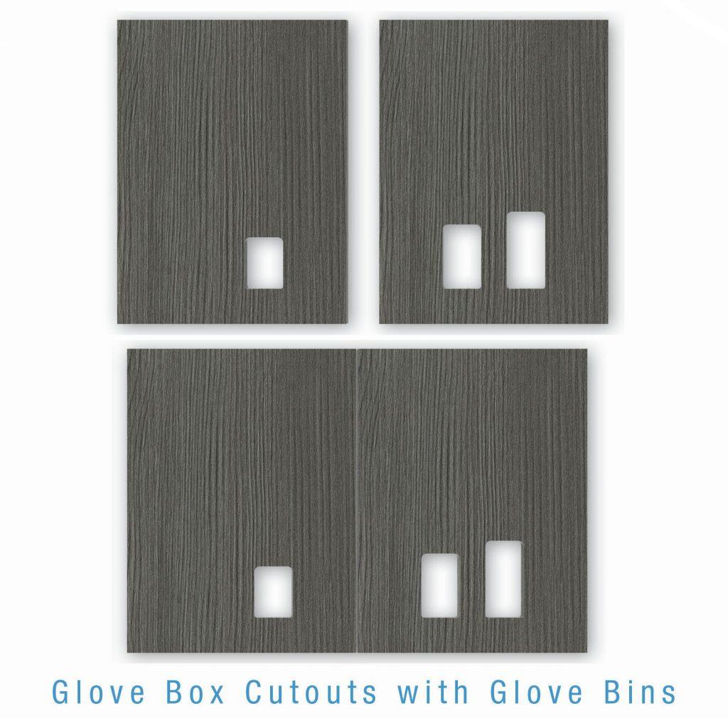Glove Box cutout with Glove Bins